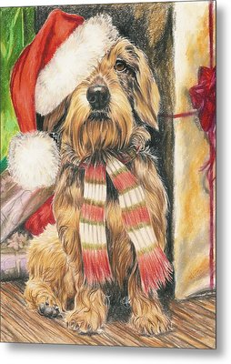 Metal Print featuring the drawing Santas Little Yelper by Barbara Keith