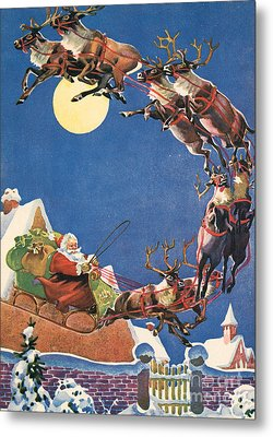 Santa's Sleigh And Reindeer Flying In The Night Sky On Christmas Eve Metal Print by American School