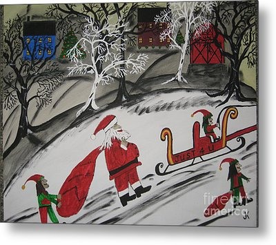 Metal Print featuring the painting Santa's Work Is Done  by Jeffrey Koss