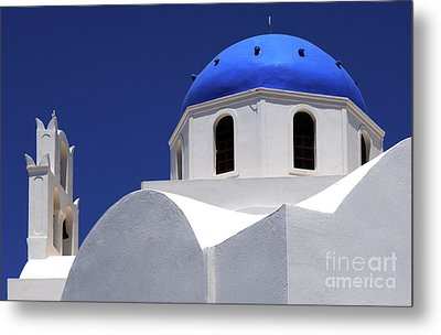 Metal Print featuring the photograph Santorini Greece Architectual Line 2 by Bob Christopher