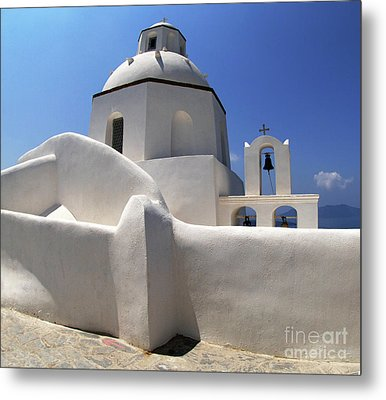 Metal Print featuring the photograph Santorini Greece Architectual Line 4 by Bob Christopher