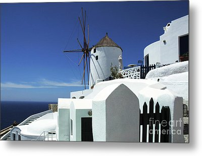 Metal Print featuring the photograph Santorini Greece Architectual Line 5 by Bob Christopher
