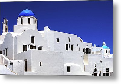Metal Print featuring the photograph Santorini Greece Architectual Line 6 by Bob Christopher