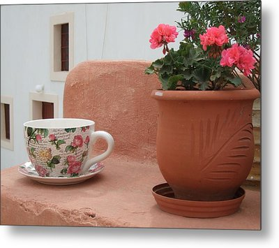 Santorini Greece Cafe Teacup And Flowerpot Metal Print by Nikki Bordon