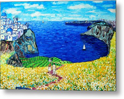 Santorini Honeymoon Metal Print by Ana Maria Edulescu