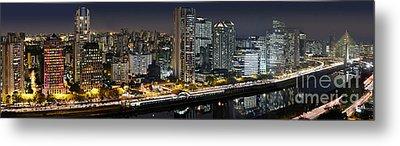 Sao Paulo Iconic Skyline - Cable-stayed Bridge  Metal Print