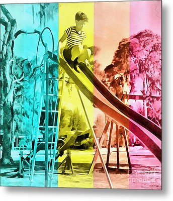 Metal Print featuring the painting Sarasota Series Trailer Park Playground by Edward Fielding