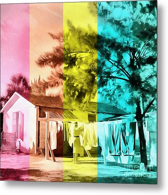 Metal Print featuring the painting Sarasota Series Wash Day by Edward Fielding