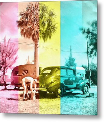 Metal Print featuring the painting Sarasota Series Wash The Car by Edward Fielding