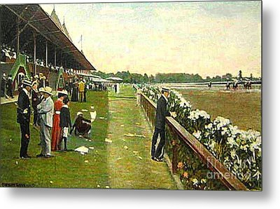 Saratoga Racetrack And Grandstand In 1905 Metal Print