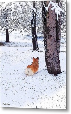 Sasha In The Snow Metal Print by Kathy Kelly