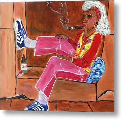 Sassy Old Lady Metal Print by Victoria  Johns