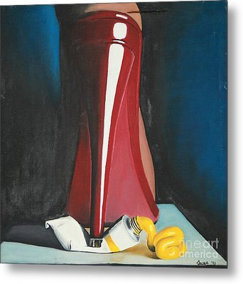 Metal Print featuring the painting Sassy Shoe by Jacqueline Athmann