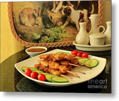 Satay Chicken Metal Print by Katy Mei