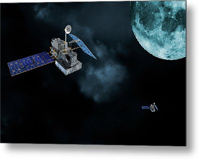 Satellites In Orbit Around The Moon Metal Print by Christian Lagereek