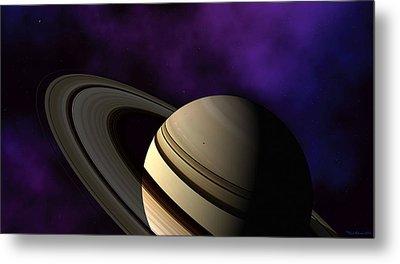 Metal Print featuring the digital art Saturn Rings Close-up by David Robinson