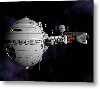 Metal Print featuring the digital art Saturn Spaceship Uss Cumberland by David Robinson