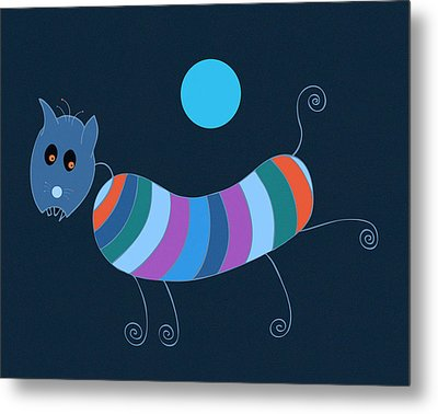 Sausage Dog In Blue Moon Metal Print by Frank Tschakert