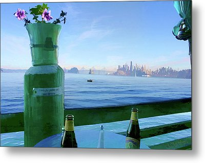 Metal Print featuring the digital art Sausalito Cafe by Michael Cleere
