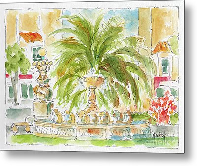 Metal Print featuring the painting Sausalito Fountain by Pat Katz