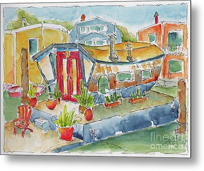 Metal Print featuring the painting Sausalito Houseboat by Pat Katz