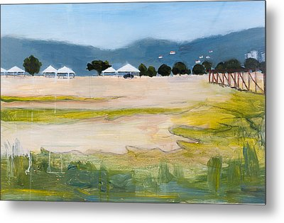 Savannah With Tents Metal Print by Mary Adam