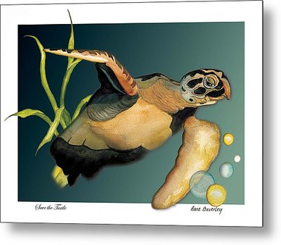 Save The Turtle Metal Print by Anne Beverley-Stamps