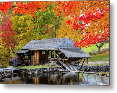 Sawmill Reflection, Autumn In New Hampshire Metal Print by Betty Denise