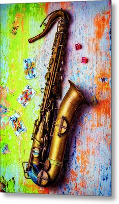 Sax And Old Playing Cards Metal Print by Garry Gay