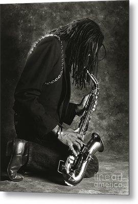 Sax Player 1 Metal Print by Tony Cordoza
