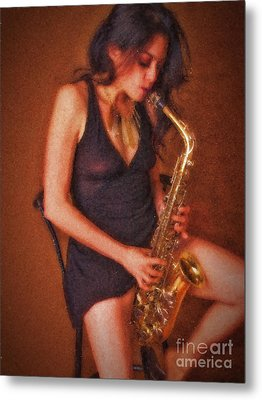 Sax Solo  ... Metal Print by Chuck Caramella