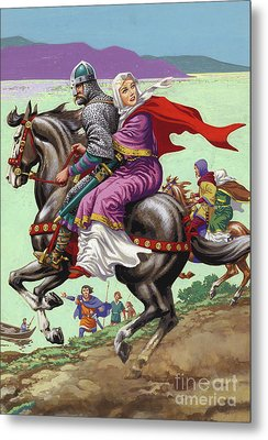 Saxon Princess Margaret Escapes With Her Family From The Clutches Of William The Conqueror  Metal Print by Pat Nicolle