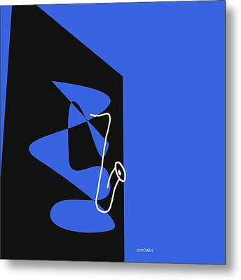 Metal Print featuring the digital art Saxophone In Blue by Jazz DaBri