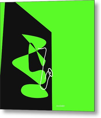 Metal Print featuring the digital art Saxophone In Green by Jazz DaBri