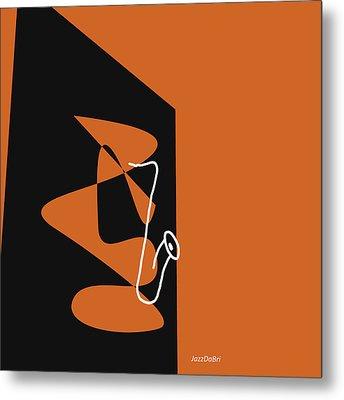 Saxophone In Orange Metal Print by David Bridburg