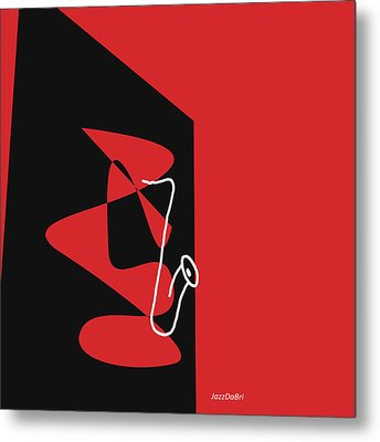 Metal Print featuring the digital art Saxophone In Red by Jazz DaBri