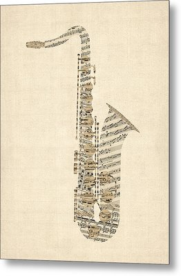 Saxophone Old Sheet Music Metal Print by Michael Tompsett