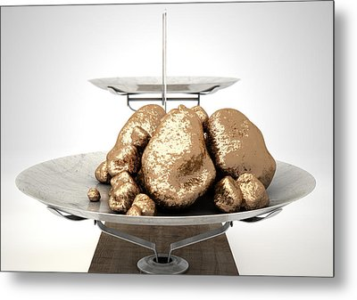 Scale And Gold Nuggets Metal Print