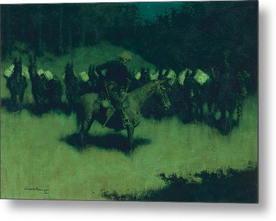Scare In A Pack Train Metal Print by Frederic Remington