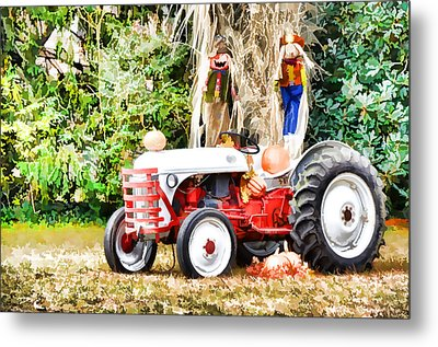 Scarecrow And Pumpkins 2 Metal Print by Lanjee Chee