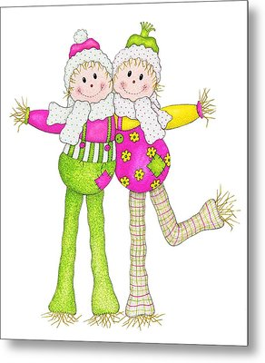 Scarecrow Pals Metal Print by Sandra Moore
