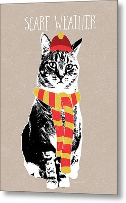 Scarf Weather Cat- Art By Linda Woods Metal Print by Linda Woods