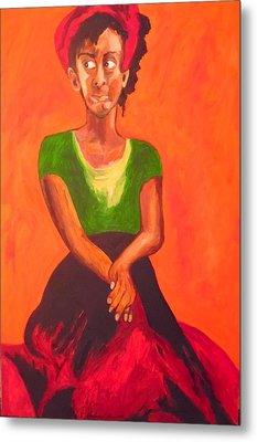 Metal Print featuring the painting Scarlet by Esther Newman-Cohen