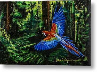 Scarlet Macaw In The Forest Metal Print