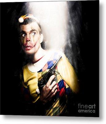 Scary Clown Standing In Shadows With Smoking Gun Metal Print