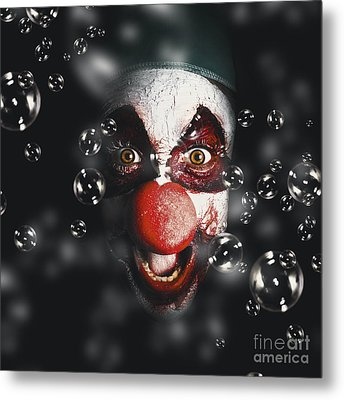 Scary Horror Circus Clown Laughing With Evil Smile Metal Print