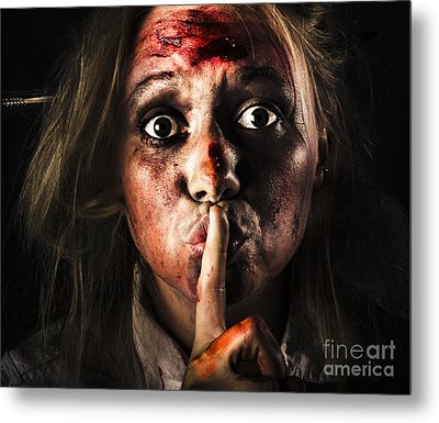 Scary Zombie Horror Face Gesturing Silence Metal Print