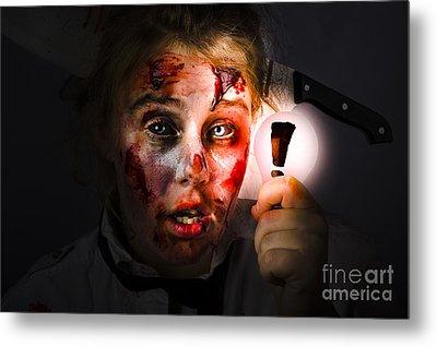Scary Zombie With Halloween Idea Light Bulb Metal Print
