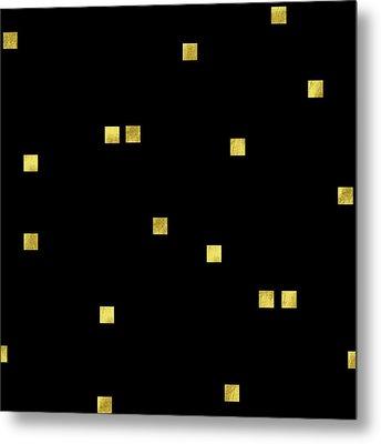 Scattered Gold Square Confetti Gold Glitter Confetti On Black Metal Print by Tina Lavoie