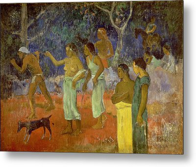 Scene From Tahitian Life Metal Print by Paul Gauguin
